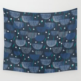 Botanical Block Print M+M Navy by Friztin Wall Tapestry