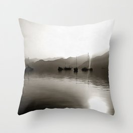 Gulets In Greyscale Throw Pillow