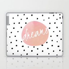 Dreams- Polkadots and Typography on pink background #Society6 Laptop & iPad Skin