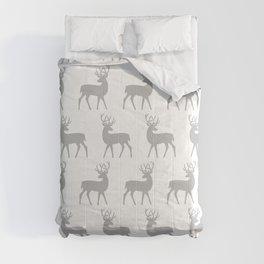 Mid Century Modern Deer Pattern Gray 3 Comforters