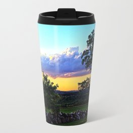 Country sunset - oak tree and stone wall silhouette Travel Mug