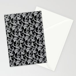 Black Vintage-Style Lily-of-the-Valley Pattern Stationery Cards