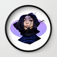 asian Wall Clocks featuring Asian by Max Grecke