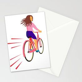Girl Riding Vintage Bicycle Retro Stationery Cards
