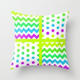 White/Multicolor Cheveron/Polkdot 1 Pattern Lime Green Cyan Magenta Vibrant Zigzag Throw Pillow