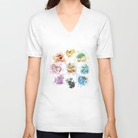 eevee V-neck T-shirts featuring Eeveelutions by Leonie X. Li