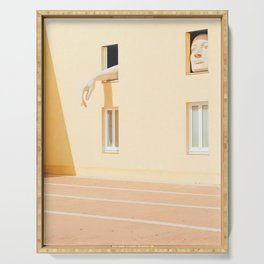 Seville XX [ Andalusia, Spain ] Art Men into yellow house⎪Colorful travel photography Poster Serving Tray