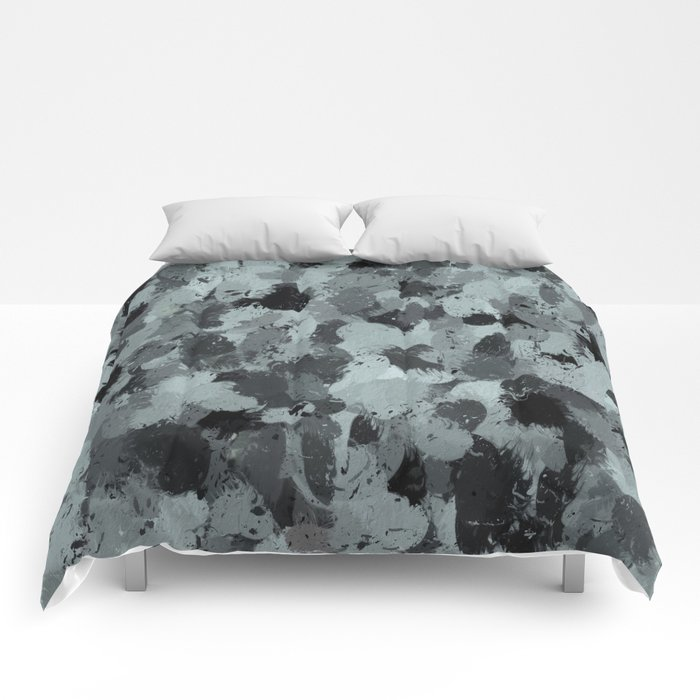 Black and Smokey Blue Pastels 3216 Comforters