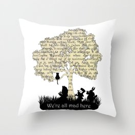 We're All Mad Here II - Alice In Wonderland Silhouette Art Throw Pillow