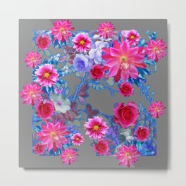 GREY FLORAL TAPESTRY OF ASSORTED PINK  FLOWERS Metal Print
