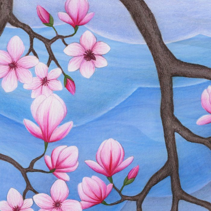 tree swallows & magnolia Leggings