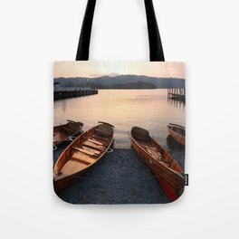 Rowing boats at Bowness, Windermere in the Lake District Tote Bag