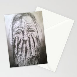 Old Lady Graphite drawing Stationery Cards