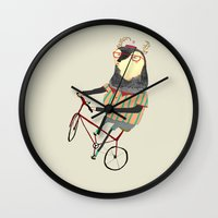 bike Wall Clocks featuring Deer on Bike.  by Ashley Percival illustration