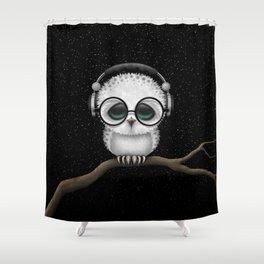 Cute Baby Owl Dj with Headphones and Glasses Shower Curtain