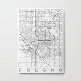 Fresno Map Line Metal Print