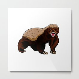 Honey badger illustration Metal Print
