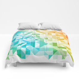 Colorful Geometric Pattern Saturated Rainbow Pattern Design (Red Pink Orange Yellow Green Blue) Comforters