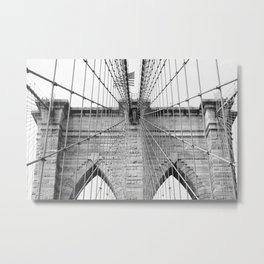Black and white Brooklyn Bridge | travel photography New York city USA art print Metal Print