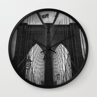 brooklyn bridge Wall Clocks featuring Brooklyn Bridge by Nicklas Gustafsson