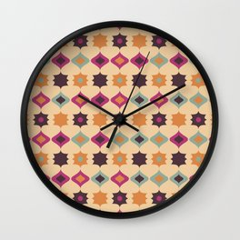 Seamless retro pattern geometrical vector texture background Wall Clock
