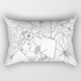 Open: Frida at her Easel Rectangular Pillow