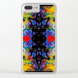 YELLOW GARDEN GOLD BLUE FLOWERS BLACK  PATTERN ART Clear iPhone Case