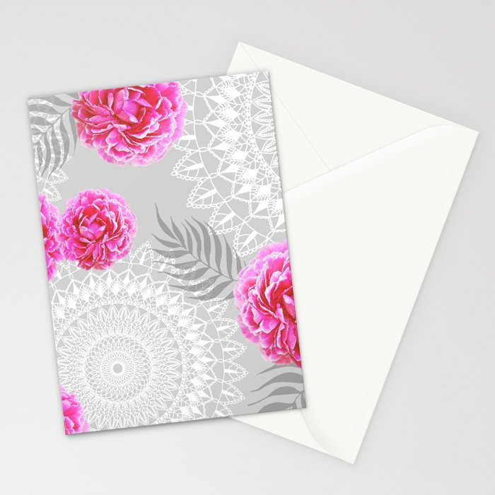 Mandalas and peonies n.1 Stationery Cards
