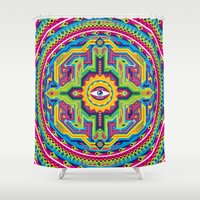 native american Shower Curtains featuring Native American Eye by Roberlan Borges