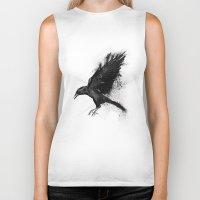 crow Biker Tanks featuring Crow by Adam Flynn
