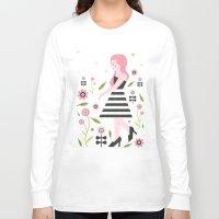 dress Long Sleeve T-shirts featuring Monochrome Dress by Carly Watts