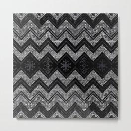 Tribal  Ethnic Boho Pattern Wooden Texture Metal Print