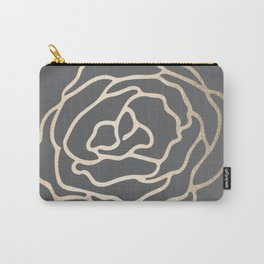 Rose White Gold Sands on Storm Gray Carry-All Pouch