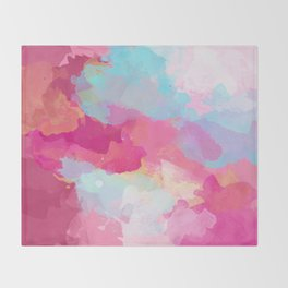 Colorful Abstract - pink and blue pattern Throw Blanket