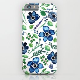 Watercolor Anemones and Greenery iPhone Case
