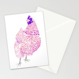 Magenta Orpington Chicken Stationery Cards