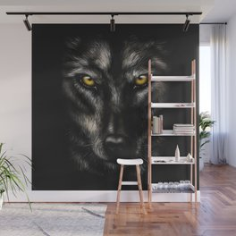hand-drawing portrait of a black wolf on a black background Wall Mural