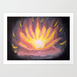 Fire in the forest. Art Print
