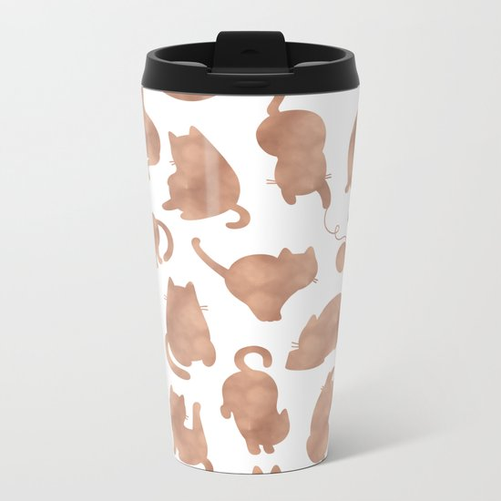 Rose gold cats Metal Travel Mug