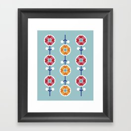 Scandinavian inspired flower pattern - blue background Framed Art Print