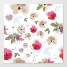 Cute soft spring pattern with flowers Canvas Print