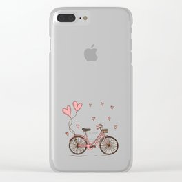 Retro vintage bicycle print with heart shaped balloons Clear iPhone Case