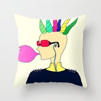 punk Throw Pillows featuring punk by Sproot