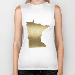 minnesota gold foil state map Biker Tank