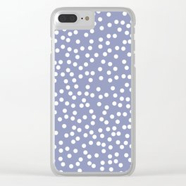 Dusty Purple and White Polka Dot Pattern Clear iPhone Case