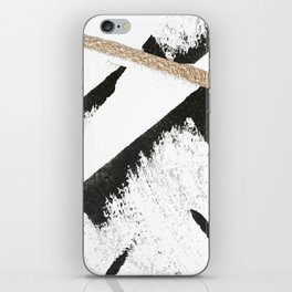 Sassy: a minimal abstract mixed-media piece in black, white, and gold by Alyssa Hamilton Art iPhone Skin