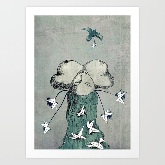 Origami's passion -  a collaboration between Christelle Guilhen and Gwenola de Muralt Art Print