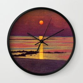 Sunset at the Beach landscape painting by Félix Vallotton Wall Clock