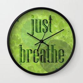 Just Breathe | Green Foliage Wall Clock