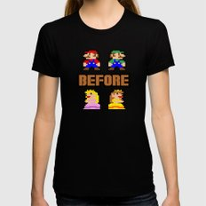 Super Mario Bros Before Hoes Womens Fitted Tee LARGE Black